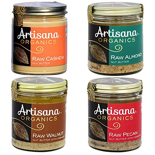Almond Cashew Butter (Artisana Organics - Nut Butters Variety 4-Pack, USDA Organic Certified and Non-GMO (Almond, Cashew, Walnut and Pecan, 8 oz))