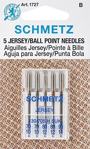 25 Schmetz Assorted Jersey Ball Point Sewing Machine Needles 130/705 H SUK Sizes 70/10, 80/12, 90/14 (Fine Machine Sewing)