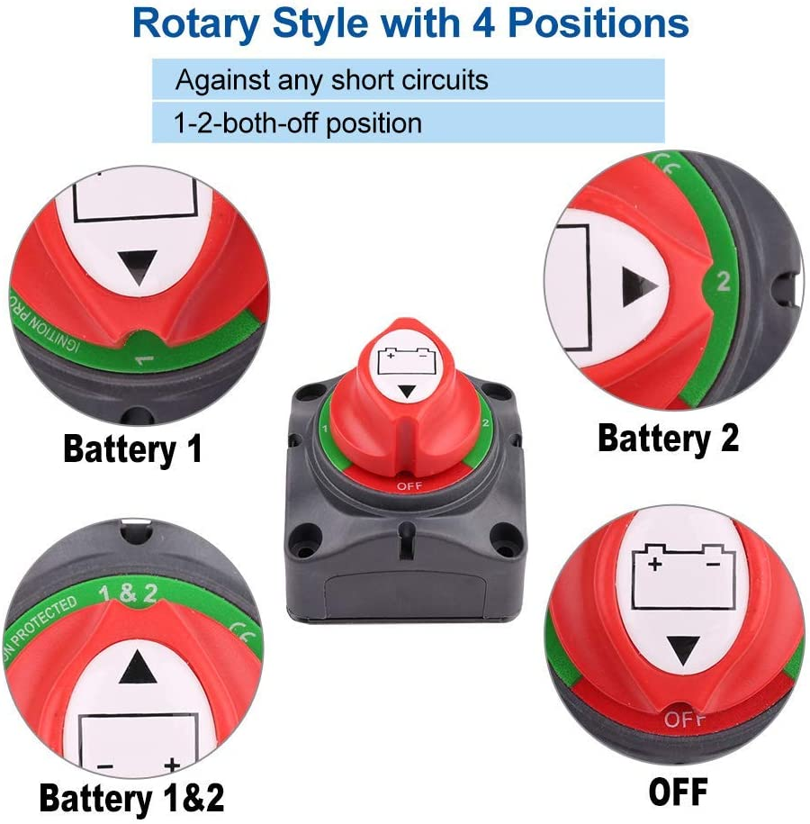 1-2-Both-Off Battery Switch, 12V 24V 48V Battery Disconnect Master Cutoff Switch for Marine Boat Car RV ATV UTV Vehicle, Waterproof Heavy Duty Battery Isolator Switch, 200/1250Amps: Automotive