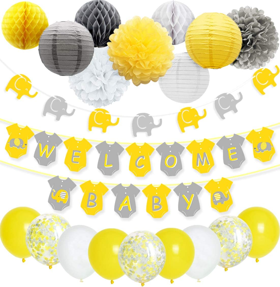 JOYMEMO Yellow Grey Elephant Baby Shower Decorations Neutral for Boy or Girl, Welcome Baby Banner Elephant Garland Confetti Balloons for Gender Neutral Baby Decor