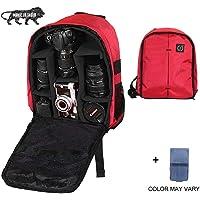Brain Freezer J DSLR/SLR Camera Lens Nylon Polyester Backpack Case for Canon Nikon Sigma Olympus Camera (Red Black)