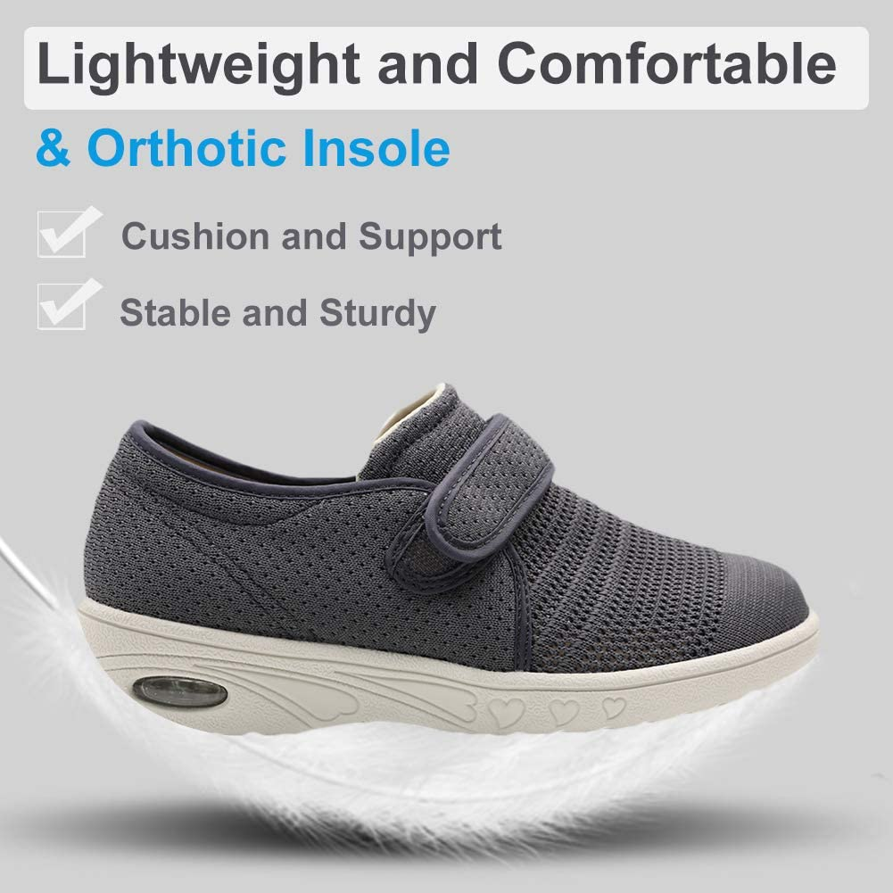 Orthoshoes Womens Edema Shoes Mesh Breathable Lightweight Walking Sneakers Air Cushion for Diabetic, Elderly, Swollen Feet, Plantar Fasciitis Grey