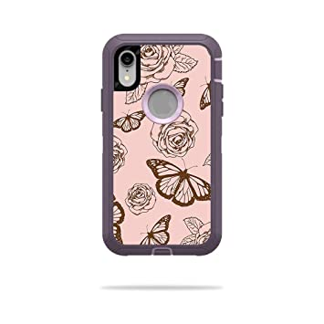 quality design cd465 f2b6b MightySkins Skin for OtterBox Defender iPhone XR Case - Butterfly Garden |  Protective, Durable, and Unique Vinyl Decal wrap Cover | Easy to Apply, ...