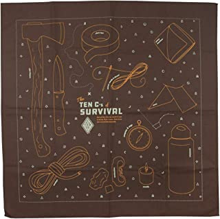 product image for Colter Co. Survival Bandana for Fishing, Camping, Hiking | 100% Cotton, Made in the USA… (Ten C's of Survival, Brown)