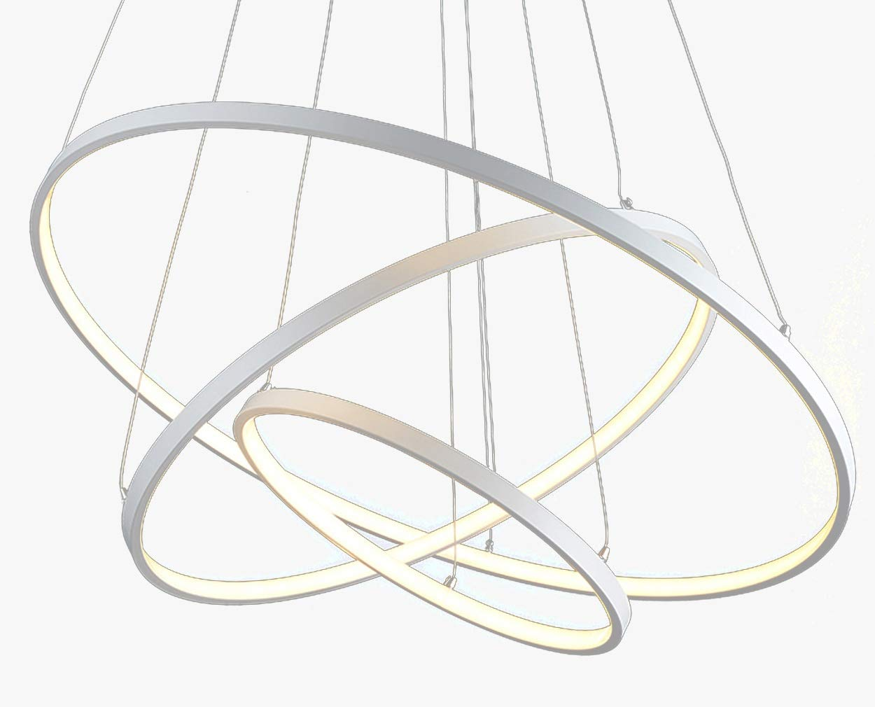 Moderne LED Pendelleuchte Esstisch Hängeleuchte 95W 3-Ring dimmbar Pendellampe Pendellampe Pendellampe Runde Aluminium Wohnzimmer Deckenleuchte Schlafzimmer Hängelampe Kronleuchter mit Fernbedienung, 30+50+70cm 3cc9d1