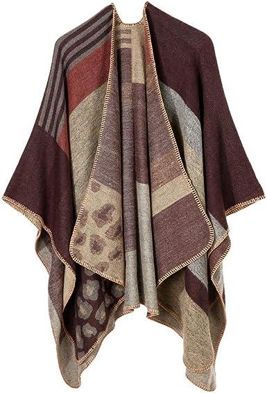 Womens Fall Winter Scarf Cloak Tassel Cape Mantle Scarf Warm Soft Kerchief Wrap Shawl Scarves Color : Blue, Size : 51.1 x 59.06 Inch