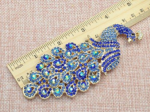 Gyn&Joy Gold-Tone Art Gorgeous Peacock Austrian Crystal Rhinestone Brooch Pins 5 Inch BZ055 (Blue) by Gyn&Joy (Image #1)