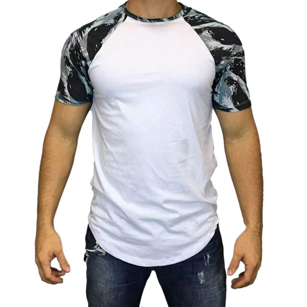 Men Summer Tops Casual Camouflage Print T-Shirt Short Sleeve Blouse Vest Polos for Gym Sport and Casual