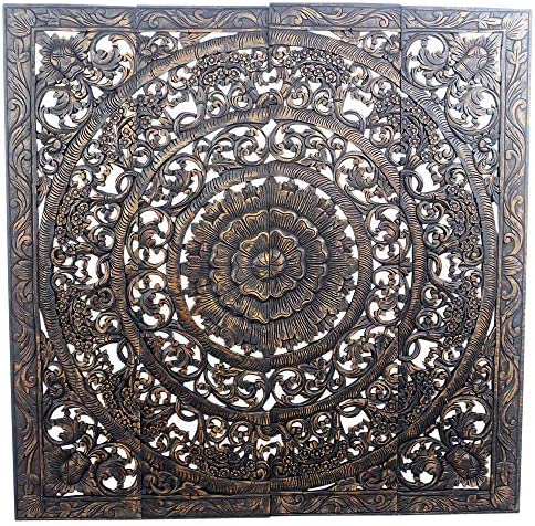 Haussmann Teak Lotus Panel 48 x 48 inches H-3D Black Stain Wax