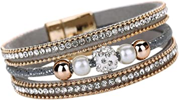 Leather Wrap Charm Bracelet Cuekondy Crystal Beaded Magnetic Wristband Bangle Jewelry for Women Girls
