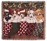 Puppy Dog & Christmas Stockings Decorative Woven Afghan Throw Blanket 50 x 60 by Simply Home