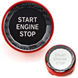 iJDMTOY (1) Crystal Diamond Reflective Engine Push Start Button w/Red Trim Compatible With BMW Exx Chassis Code 3 5 6 7 Serie
