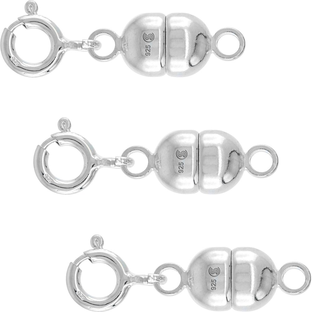 3 PACK Sterling Silver 7 mm Magnetic Clasp Converter for Necklaces Italy, Large size by Sabrina Silver