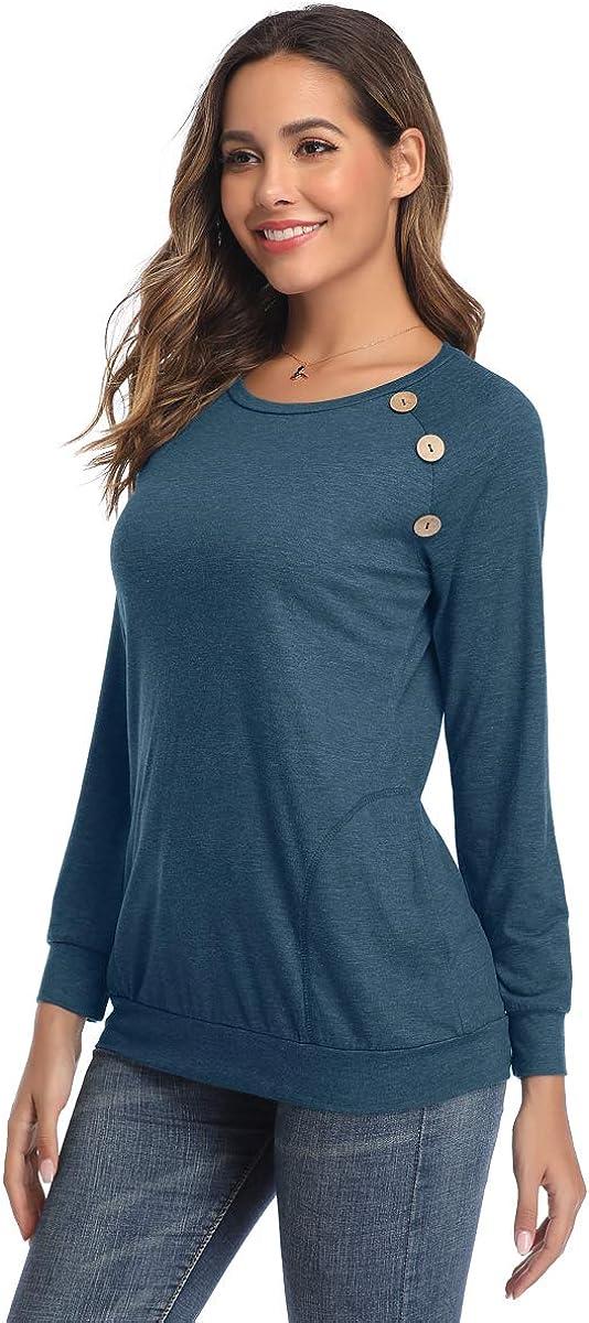 HAPYWER Damen Langarmshirt Casual Loose Bluse Tunika Tops L/ässige Schaltfl/ächen Hemd Einfarbig Rundhals Langarm T-Shirt mit Taschen
