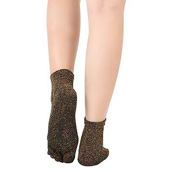 Hense Antideslizante Deslizamiento Yoga y Pilates Agarre Calcetines Cinco Dedos Separador Calcetines con Agarre algodón para Las Mujeres (hct05), ...