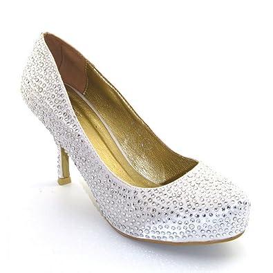 aed0e231a7b ESSEX GLAM Womens Low Heel Platform Diamante Bridal Ivory Satin Court Shoes  5 B(M