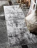 "Unique Loom Sofia Collection Dark Gray 2 x 7 Runner Area Rug (2' x 6' 7"")"