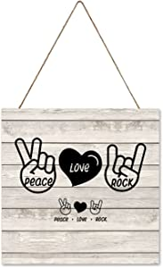 by Unbranded Wooden Home Sign Wall Hanger Rustic Wood Sign Home Outdoor Decor for Front Door Kitchen Peace Love Rock 12x12 Inch
