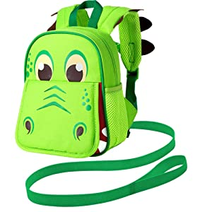"""Leash Backpack, 9.5"""" Toddler Dinosaur Bag - Harness Safety with Removable Tether"""