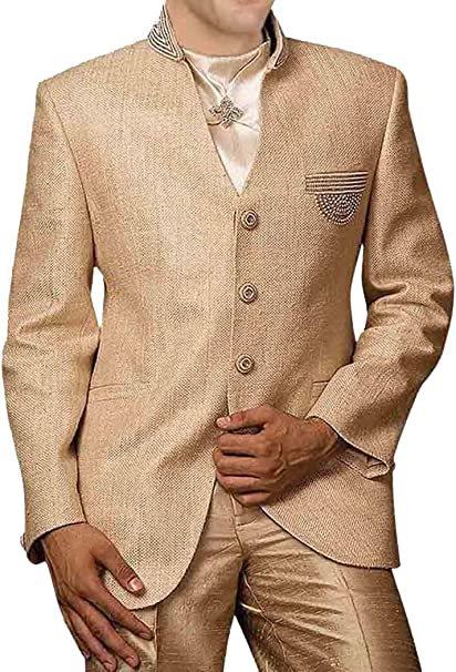 Amazon.com: INMONARCH para hombre crema lino 4 pc Jodhpuri ...