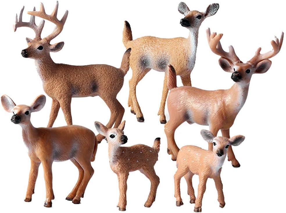 FLORMON Juguete Ciervo Figuras de Animales 6 Piezas Realista Venado de Cola Blanca Modelo de acción El plastico Animal Salvaje Juguetes de Fiesta favores Juguetes educativos de la Granja