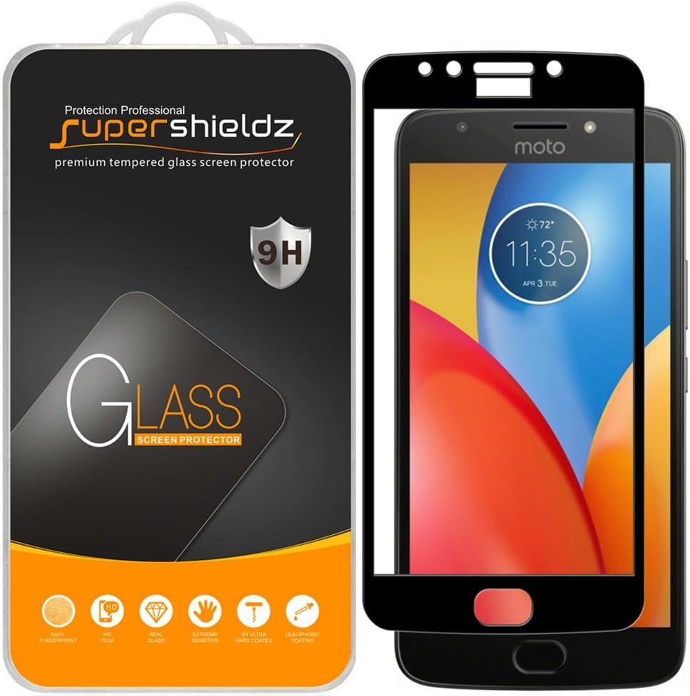 (2 Pack) Supershieldz for Motorola (Moto E4 Plus) and Moto E Plus (4th Generation) Tempered Glass Screen Protector, (Full Cover) Anti Scratch, Bubble Free (Black)