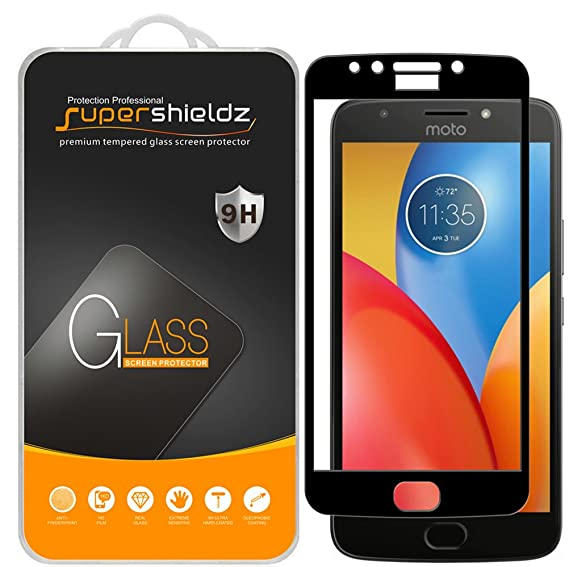 (2 Pack) Supershieldz for Motorola (Moto E4 Plus) and Moto E Plus (4th  Generation) Tempered Glass Screen Protector, (Full Cover) Anti Scratch,  Bubble