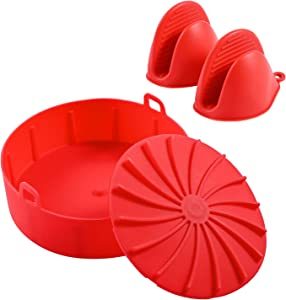 Silicone Pot for Air Fryer 6.3 Inch with Oven Silicone Mitts, Air Fryer Silicone Pot Accessory for Replacing Flammable Parchment Liner Paper (Red Pot and Red Mitts)