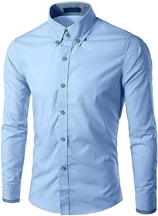 Camisa Hombre Slim Fit Manga Larga,Camisa Hombre Traje,Camisa ...