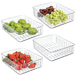 mDesign Plastic Kitchen Refrigerator Produce Storage Organizer Bin with Open Vents for Air Circulation - Food Container for Fruit, Vegetables, Lettuce, Cheese, Fresh Herbs, Snacks - L, 4 Pack - Clear