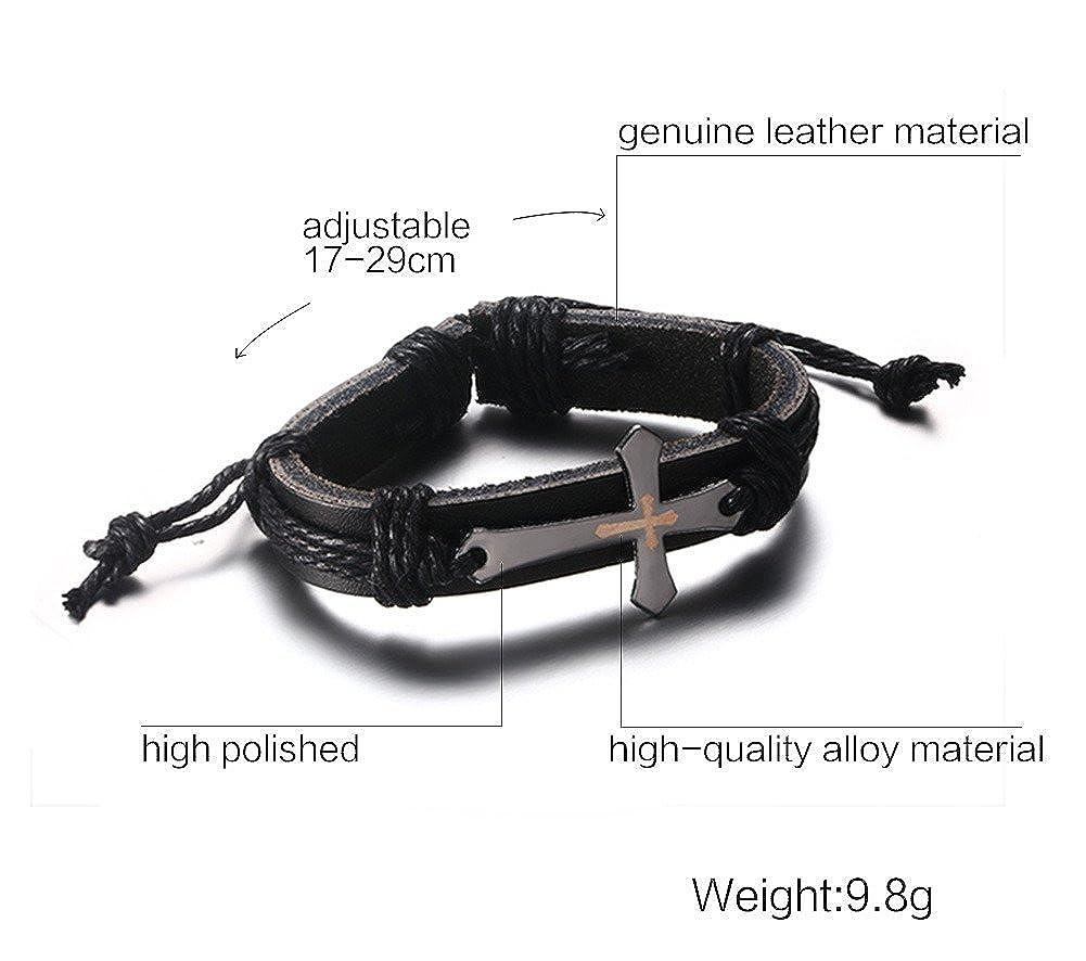 Mens Womens Black Genuine Leather Cross Bracelet,Length Resizable,Fit 7 to 12