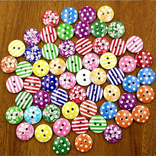 Mega Shop - Sewing Wood Craft Buttons - Size 15 mm with 2 Holes Striped - Bulk 50 Pcs. [ Flowers Mixed Candy Design For Diy Kid ] Crafting Assort Round Button Fasteners Scrapbooking ()
