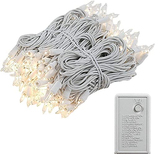 Novelty Lights, Inc. 140 Chasing Patio Party Christmas Mini Light Set, Clear, White Wire, 140 Light, 46.5 Long