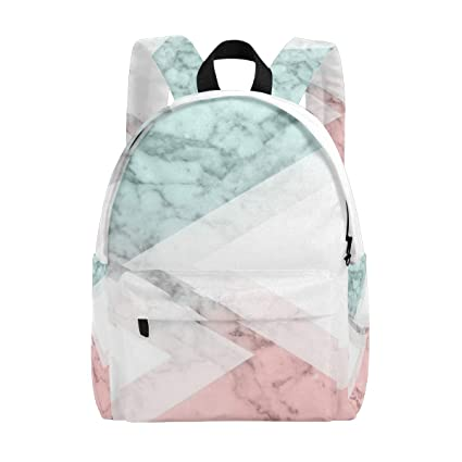 63069e6d5336 Blue Pink Triangle Marble Student Backpack Laptop School, Travel College Bag  Backpack, Unisex Waterproof