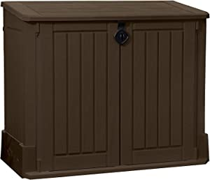 Lockable UV & Weather Resistant Double Door Resin Outdoor Storage Shed with Floor & Easy Lift Hinges Store-It-Out Woodland 4 ft x 2 ft Plastic Lean-To Garbage Shed Brown by Michael Trunnell