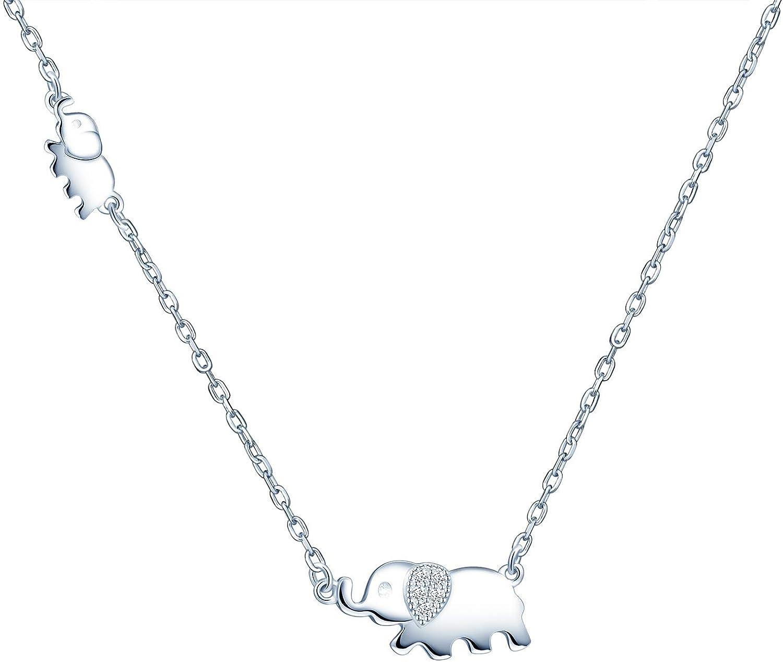 Collar Mujer Niña en Plata 925, Mini Collar con Colgante de Elefante Lindo, Adornado con Circonita Cúbica Brillante, Regalo de Cumpleaños, San Valentín y Navidad