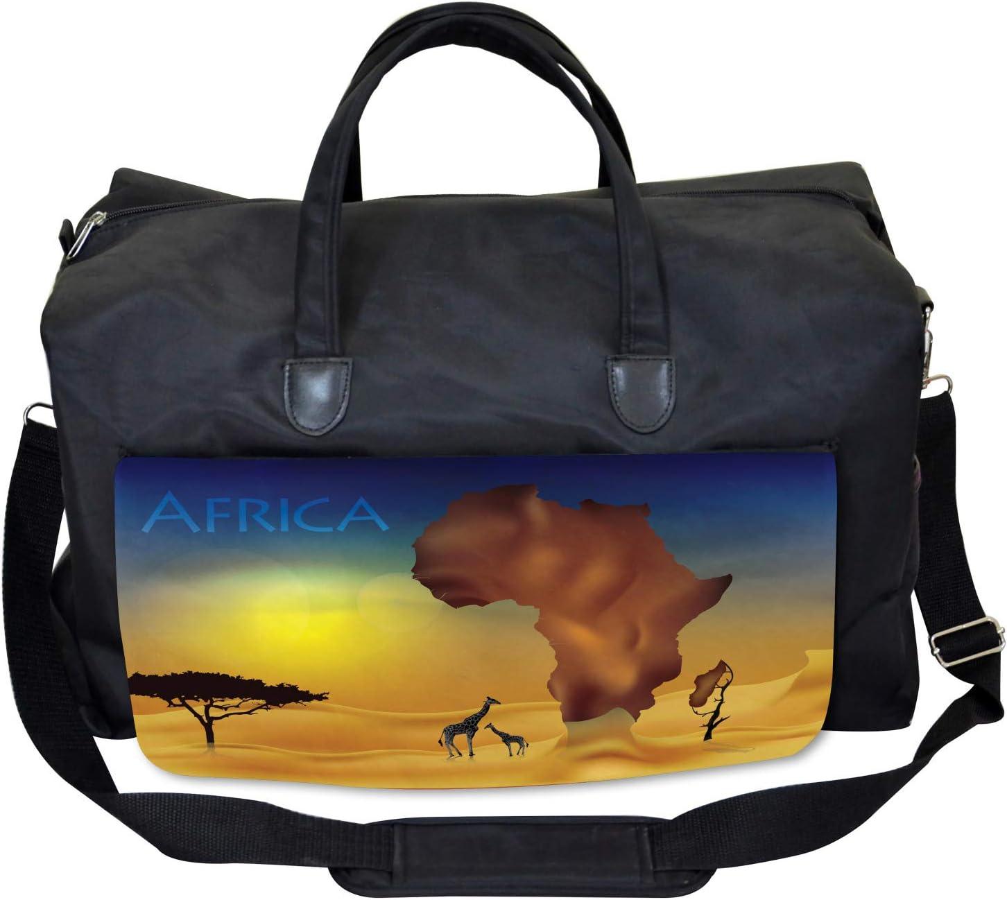 Tropical Wild Animal Large Weekender Carry-on Ambesonne Safari Gym Bag