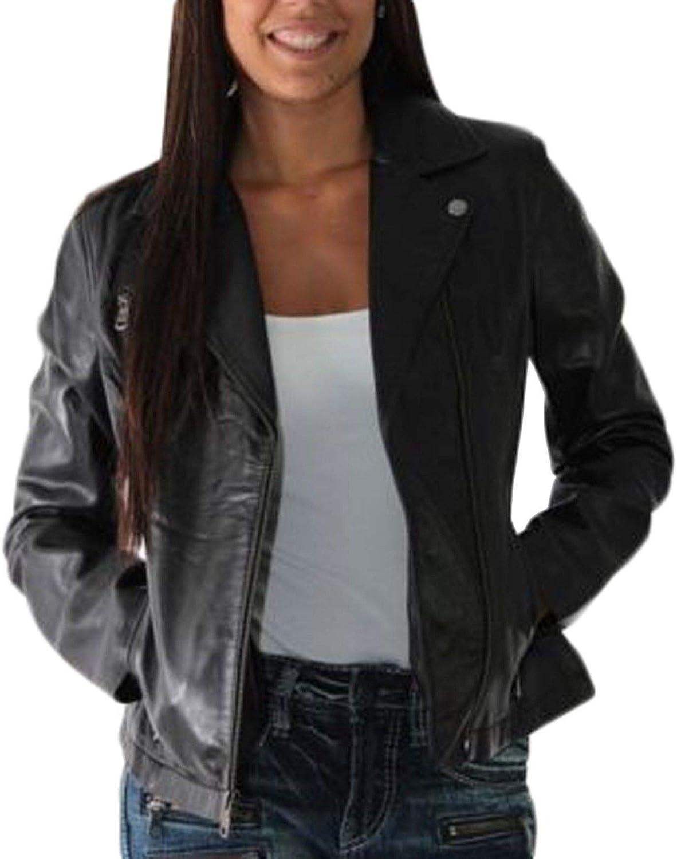 Pristine Leather Womens Lambskin Leather Motorcycle Rider Biker Racer Black Jacket WJ-159