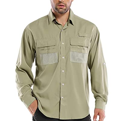 Asfixiado Men Long Sleeve Fishing Shirts,Outdoor Casual UPF 50+ Breathable Quick-Dry for Work Hiking Travel Golf #5022: Clothing