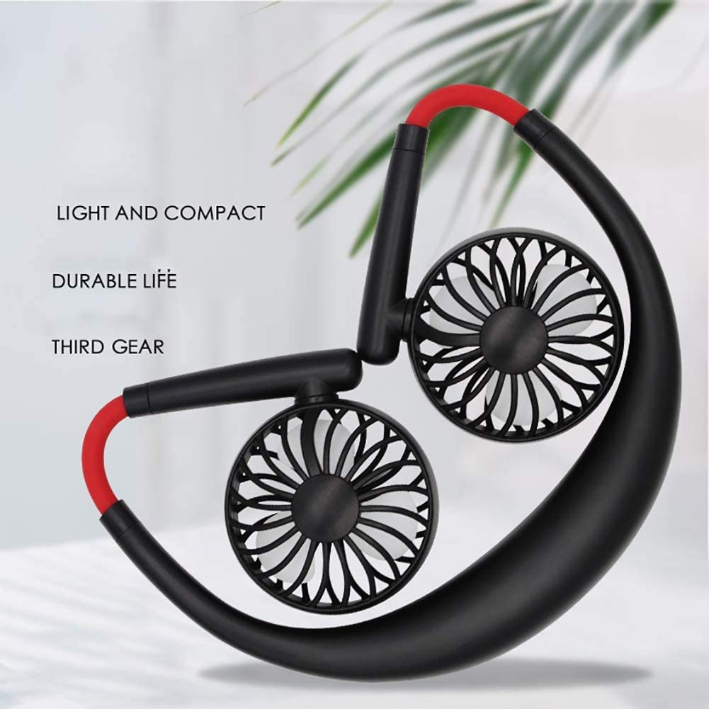 3 Speeds 360 Degree Adjustment for Home Office Outdoor Travel KINHOO Portable Fan Mini USB Fan Hand Free Personal Fan Neckband Sport Fan Wearable Desktop Fan USB Rechargeable