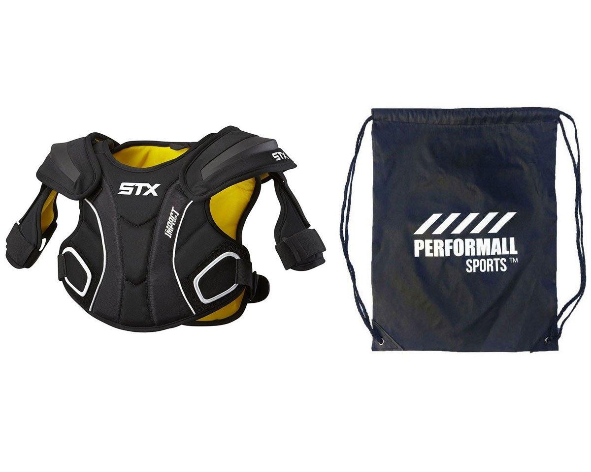 STX Impact Lacrosse Shoulder Pad with 1 performallスポーツドローストリングバッグ ブラック Medium