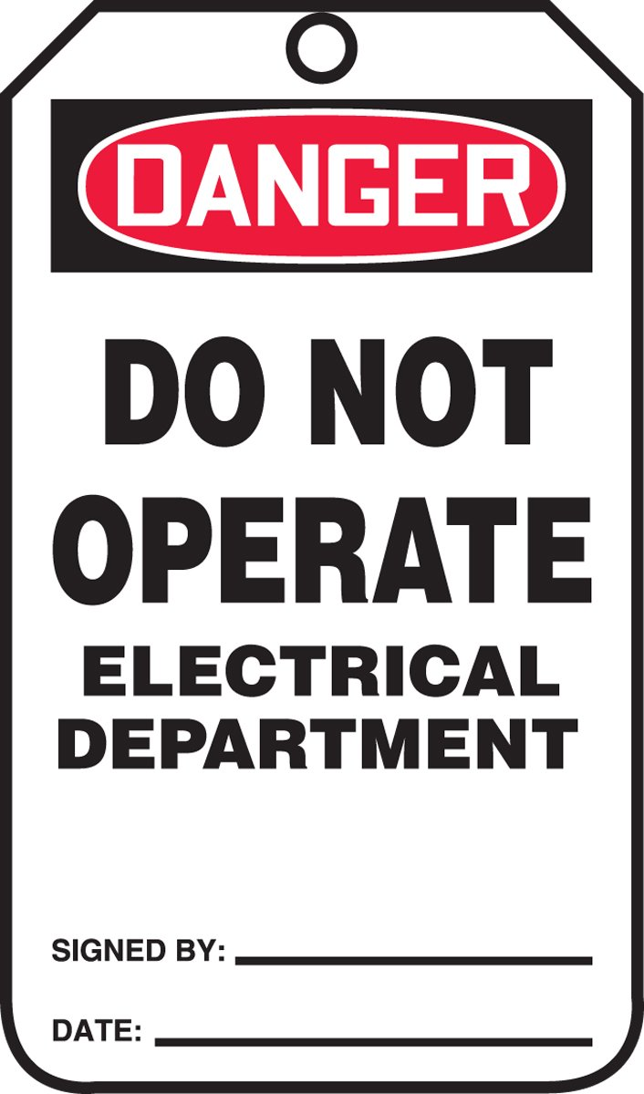 5.75 Length x 3.25 Width x 0.010 Thickness Red//Black on White Accuform MDT202CTM PF-Cardstock Safety Tag LegendDanger DO NOT Operate Electrical Department Pack of 5 LegendDanger DO NOT Operate Electrical Department