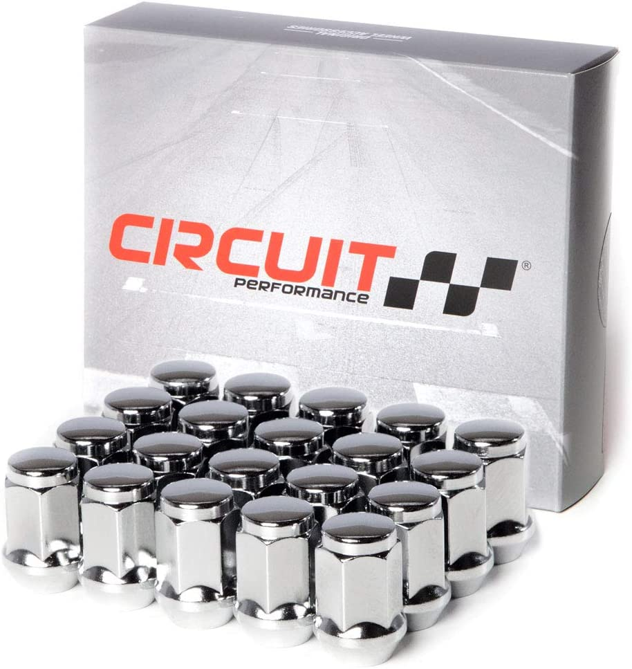 20 Pieces Circuit Performance 7//16 Black Closed End Bulge Acorn Lug Nuts Cone Seat Forged Steel
