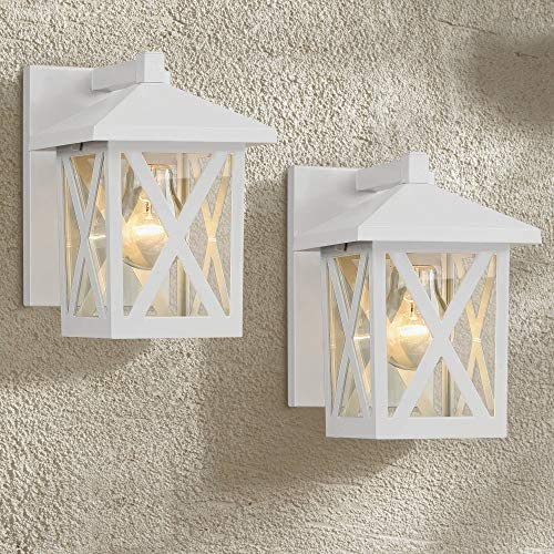 Elkins Country Cottage Outdoor Wall Light Fixtures Set of 2 White 7 1/2″ Lantern Clear Gla