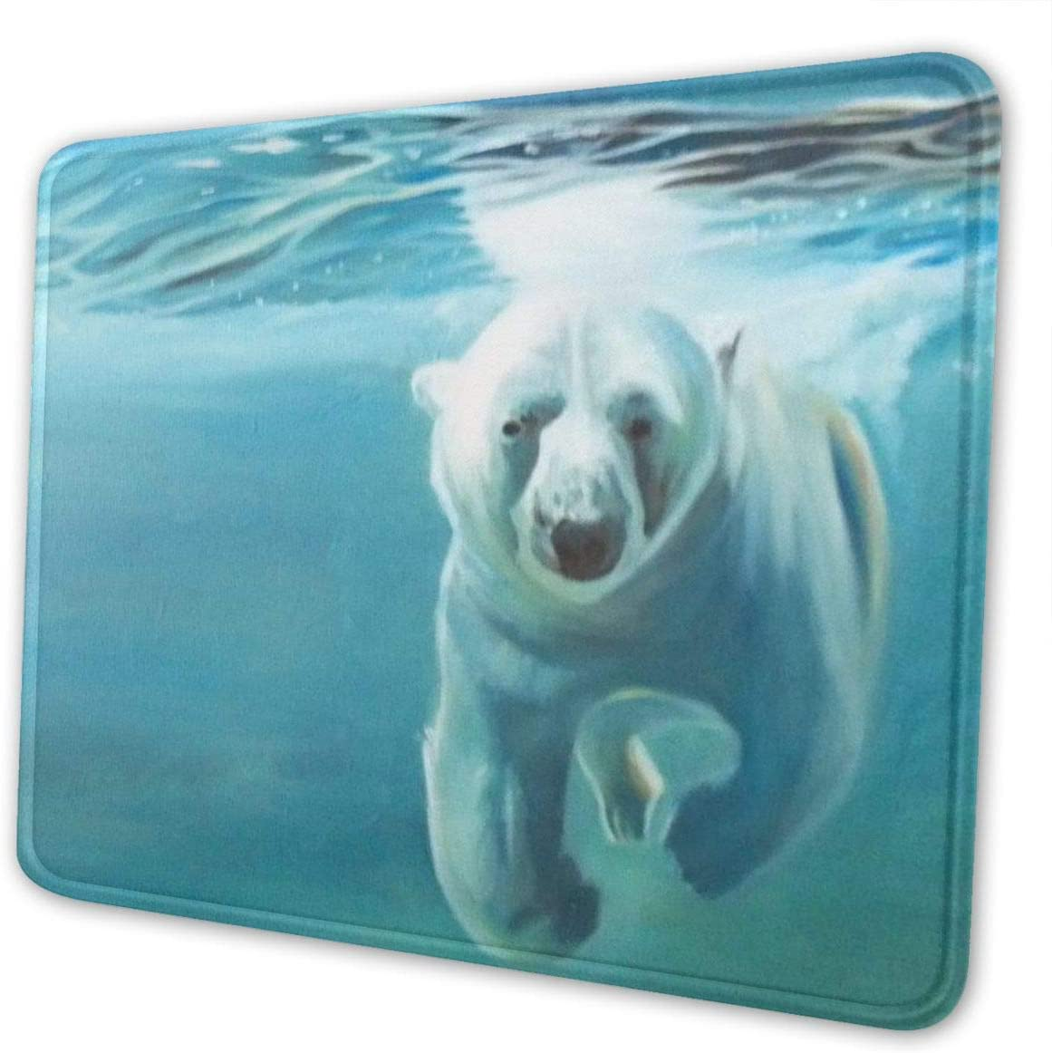 Mouse Pad Personality Polar Bear in The Water Pattern Mousepad Non-Slip Rubber Gaming Mouse Pad Rectangle Mouse Pads for Computers Laptop 10x12inch