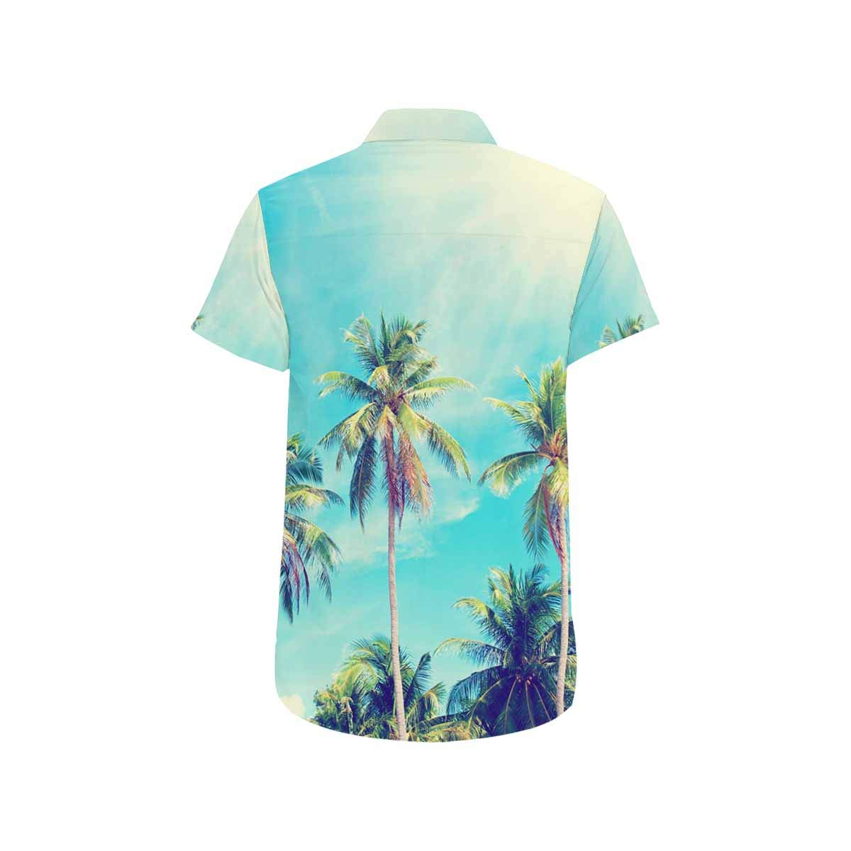 InterestPrint Palm Trees Perspective View Summer Casual Short Sleeve T-Shirt Stand Collar Shirts for Men