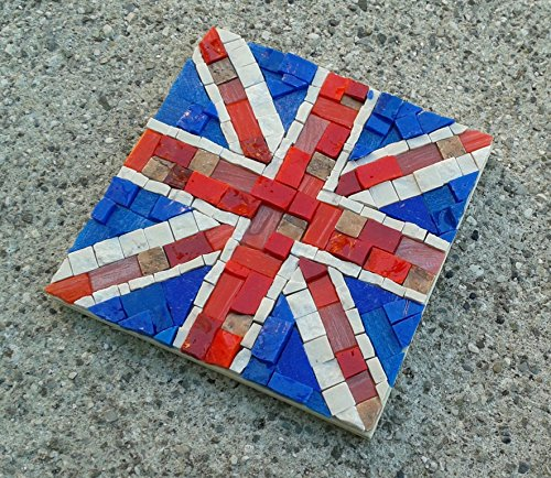 Union Jack - Mosaic craft kit for adults - Marble & Murano glass mosaic tiles - DIY love gift - Mini mosaic wall art - Cool gifts from MyriJoy