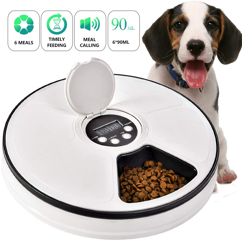 Automatic Pet Feeder Cats Dogs 6 Meal Trays Dry Wet Food