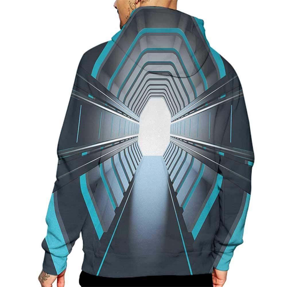 Unisex 3D Novelty Hoodies Outer Space,Tunnel with Neon Passage Mercury Lunar Orbit Inspired Stardust Art,Blue Dark Blue White Sweatshirts for Women Plus Size