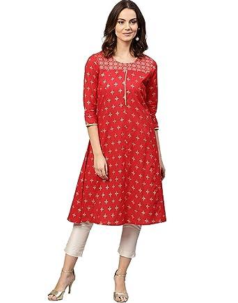 488574b1d Jaipur Kurti Women Red Ethnic Motifs Straight Cotton Kurta  Amazon ...